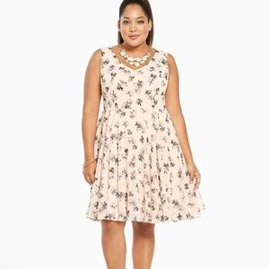 Torrid Blush Pink Floral Flounce Skirt Dress